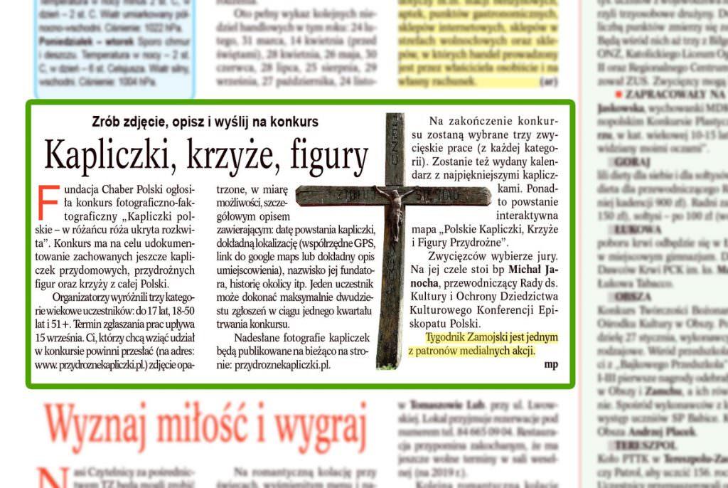 Tygodnik Zamojski informuje o naszym konkursie.